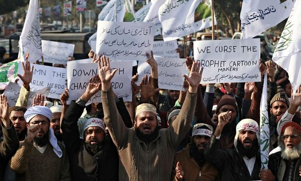 An anti-Charlie Hebdo protest rally in Quetta, Pakistan.