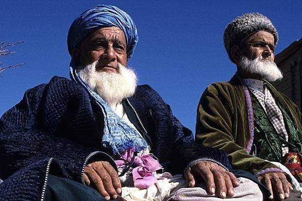Elderly men sit on the floor in Dushanbe,Tajikistan