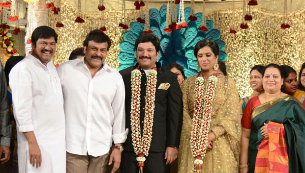 Chiranjeevi at Rajendra Prasad's son Balaji's Wedding Reception