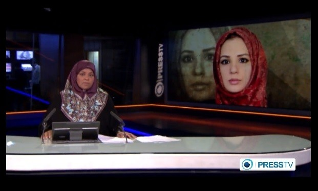 A Press TV news anchor announcing the 'suspicious' death of her colleague Serena Shim (Right) in Syria.