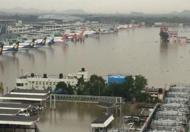 Flooded Chennai Aiport