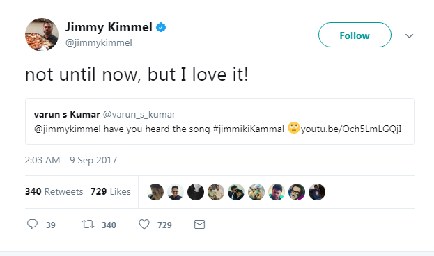 Popular American TV host Jimmy Kimmel retweets Mohanlal's Jimikki Kammal
