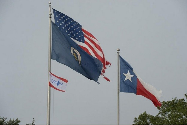 Orion flag raised over NASA Johnson Space Centre