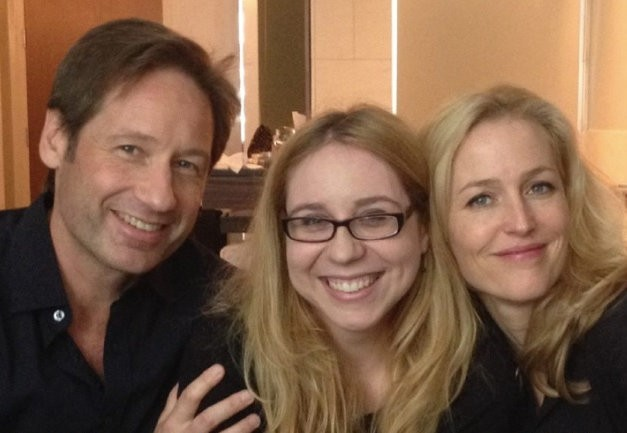 Victoria Taylor seen here with X-Files cast David Duchovny and Gillian Anderson was sacked on Thursday.