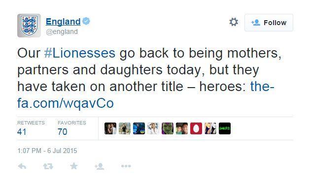England FA sexist tweet