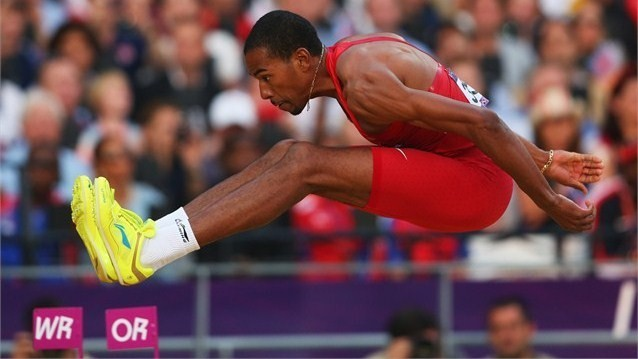 Christian Taylor of the United States competes during the Men's Triple Jump Final