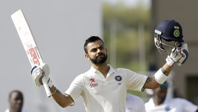 Virat Kohli,virat kohli captain,Virat Kohli hits 100,India vs WI,Ind vs WI,WI vs Ind,302/4,Test against,West Indies,Sir Viv Richards stadium
