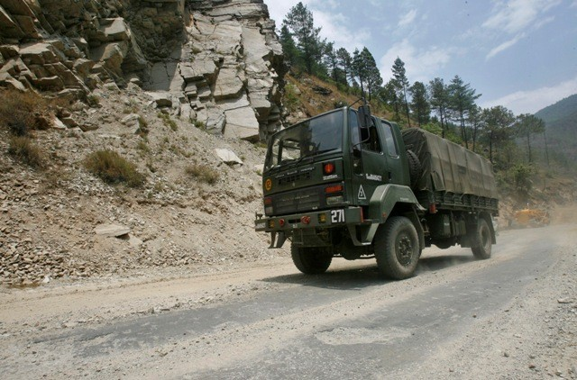 An army truck on the Tezpur-Tawang highway