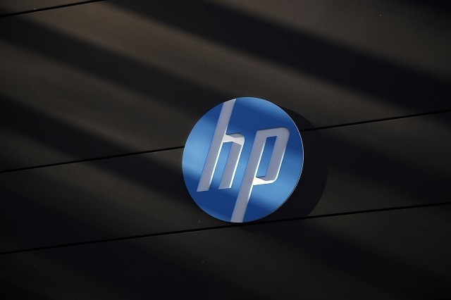 A Hewlett-Packard logo at  company's Executive Briefing Center in California,2013.