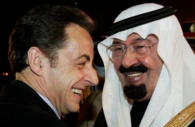 Saudi King with France's President Nicolas Sarkozy