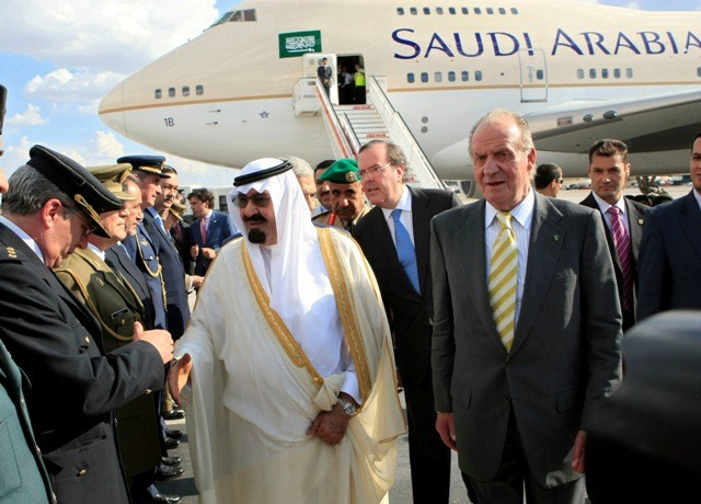 Saudi King with Spain's King Juan Carlos