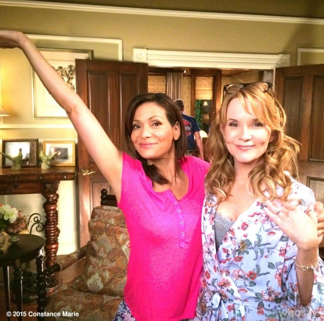 Constance Marie and Lea Thompson in set.