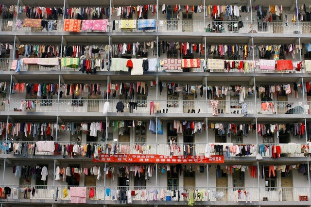 Overcrowded building at a college in Wuhan, Hubei province.