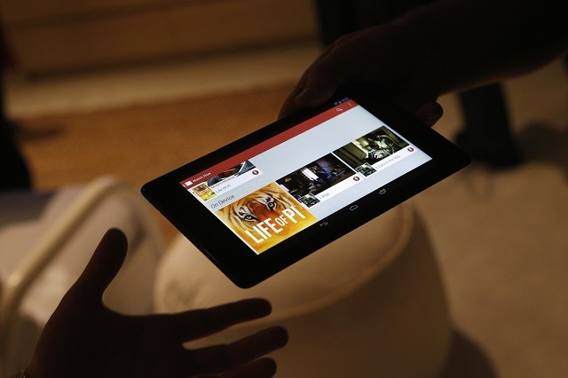 Nexus 7 tablet demonstrated during a Google event n San Francisco 2013.