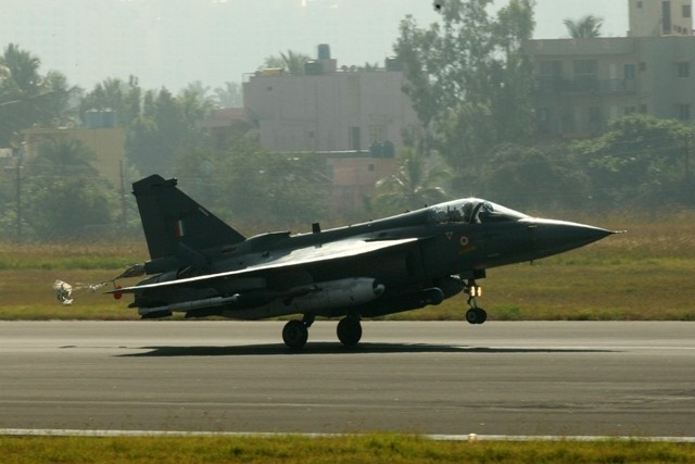 LCA Tejas makes a smooth landing at Bengaluru on Friday, 20 December 2013.
