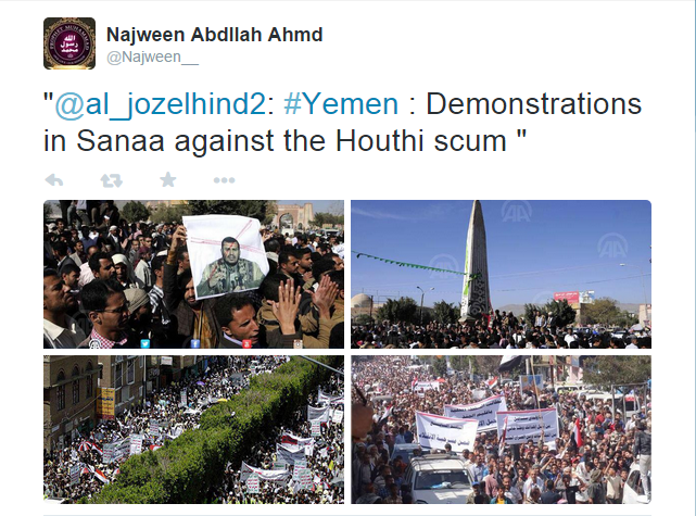 Yemeni citizens in Sanaa protest against the Houthi rebels,who are holding the country siege.