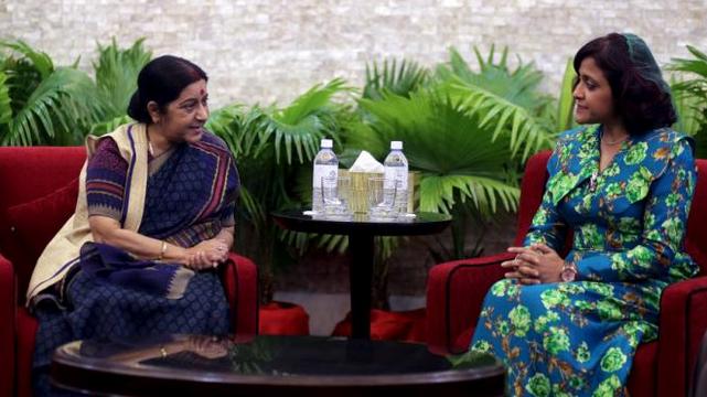 Sushma Swaraj and Dunya Maumoon