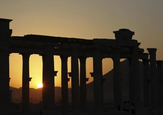 File photo of ruined columns at the historical city of Palmyra, in the Syrian desert