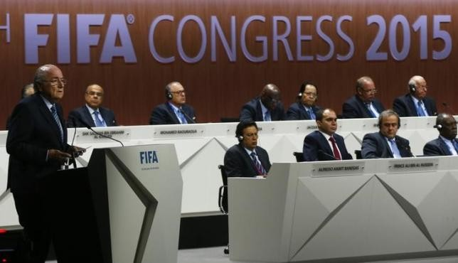 FIFA President Sepp Blatter (L) delivers an opening speech at the 65th FIFA Congress in Zurich, Switzerland, May 29, 2015.