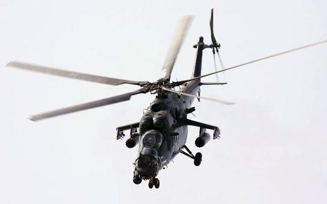A Russian military MI-35M helicopter performs during the MAKS-2007 international air show in Zhukovsky, outside Moscow.