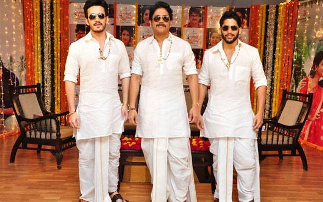Nagarjuna with his sons Naga Chaitanya and Akhil Akkineni