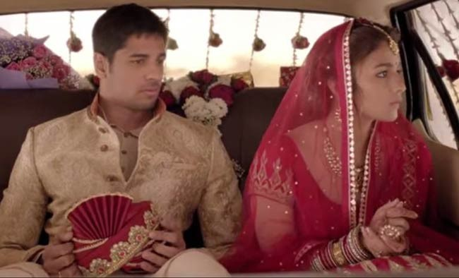 Aia Bhatt and Sidharth Malhotra as newly married couple