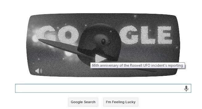 Google Doodle to celebrate 66th anniversary of Roswell UFO sighting.