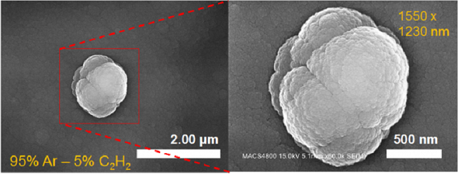 Scanning Electron Microscope image of a large (approximately 1.5 micrometer diameter) aggregate of nanograins produced in the Cosmic Simulation Chamber at NASA's Ames Research Center, using a 95 percent Ar – 5% C2H2 gas mixture. The nanograins and aggrega