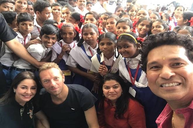 Sachin Tendulkar,Chris Martin,Sachin,Tendulkar,Sachin Tendulkar meets school students,Sachin meets school students,Global Citizen Festival Of India 2016,Global Citizen Festival India