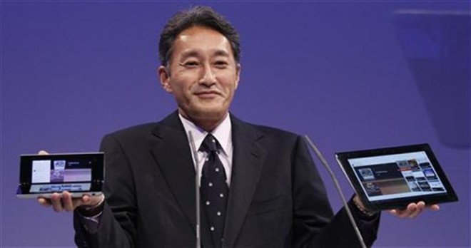 Hirai President and Group CEO of Sony Computer Entertainment presents new Sony S and P tablets at IFA consumer electronics fair in Berlin