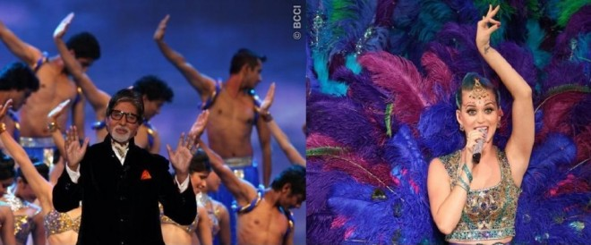 Bollywood actor Amitabh Bachchan and American singer Katy Perry performing at IPL 5. Image Credit: BCCI