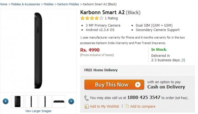 Karbonn Smart A2 Spotted online