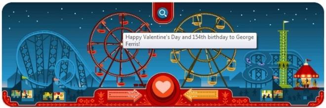 Google Doodles George Ferris' birthday and Valentine's Day