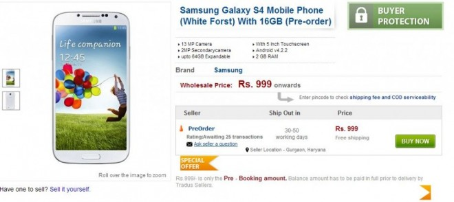 Samsung Galaxy S4 Pre-Orders Opens in India