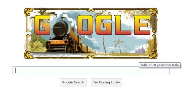 Google doodle marks 160 years of first passenger train in India