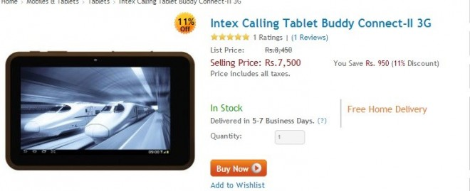 Intex Launches i-Buddy Connect II - 3G Tablet for ₹ 7,500