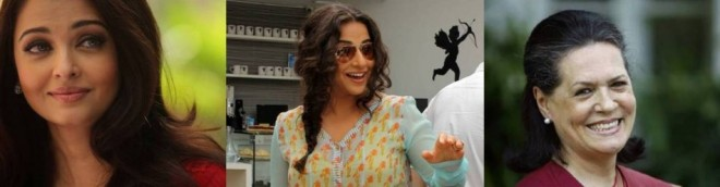 Aishwarya Rai Bachchan, Vidya Balan and Sonia Gandhi