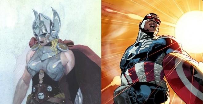 Female Thor and Black captain America