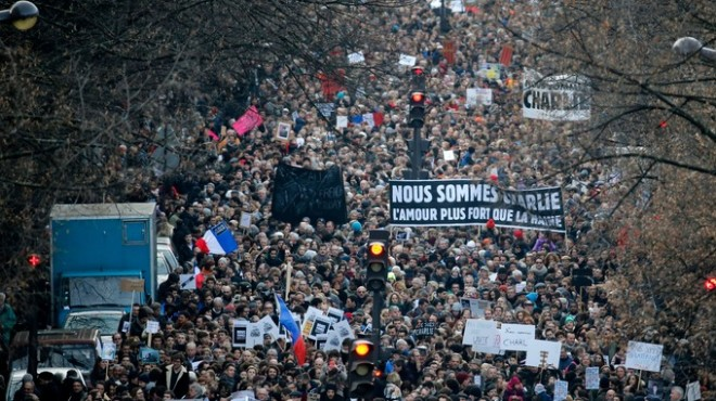 An estimated three million attended the Paris march on Sunday.