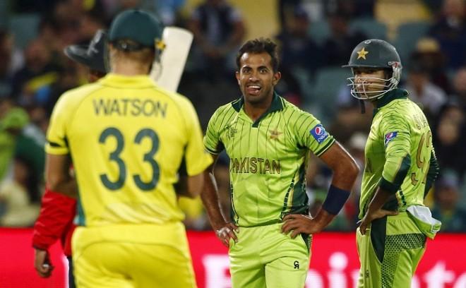 Shane Watson Australia Wahab Riaz Sohaib Maqsood Pakistan ICC Cricket World Cup 2015