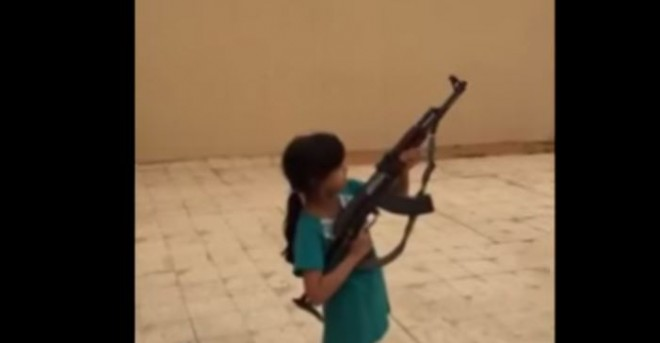 Video of a nine-year-old shooting an AK 47 has sparked concerns in Saudi Arabia.