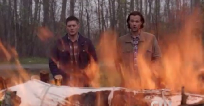 Sam and Dean cremate Charlie's body