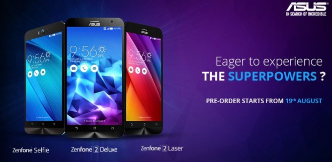 Asus Zenfone 2 Deluxe, Laser, Selfie Pre-order Goes Live on Flipkart in India; Price, Specifications