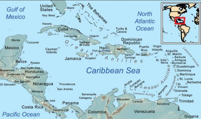 Map of Caribbean Countries