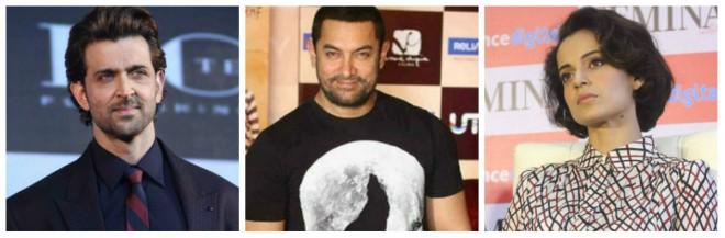 Hrithik Roshan Aamir Khan and Kangana Ranaut