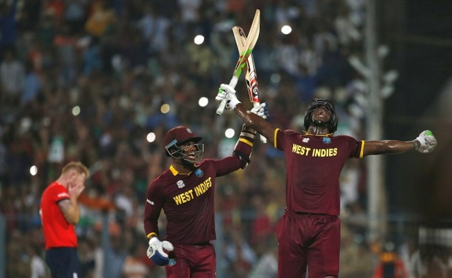 Marlon Samuels Carlos Brathwaite West Indies World T20 2016 final