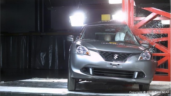 Made-in-India Suzuki Baleno gets 3 stars rating in crash test. Pictured: Baleno pole crash test 2