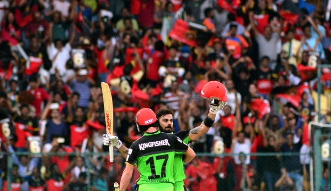 Virat Kohli AB De Villiers RCB green