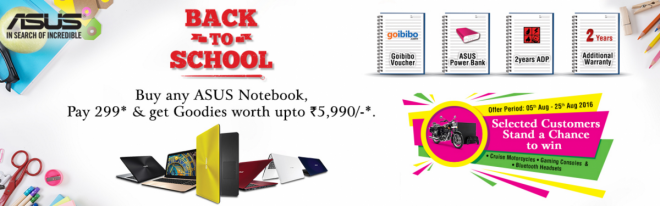 Asus launches 'Back to School' offers on Notebooks, desktops with attractive gifts and prizes in India