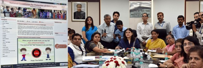 a composite photo shows Union Minister for Women and Child Development Maneka Gandhi launching the POCSO e-box in New Delhi on Aug. 26, 2016. Minister of State for Women and Child Development, Krishna Raj, Ministry Secretary Leena Nair and other dignitari